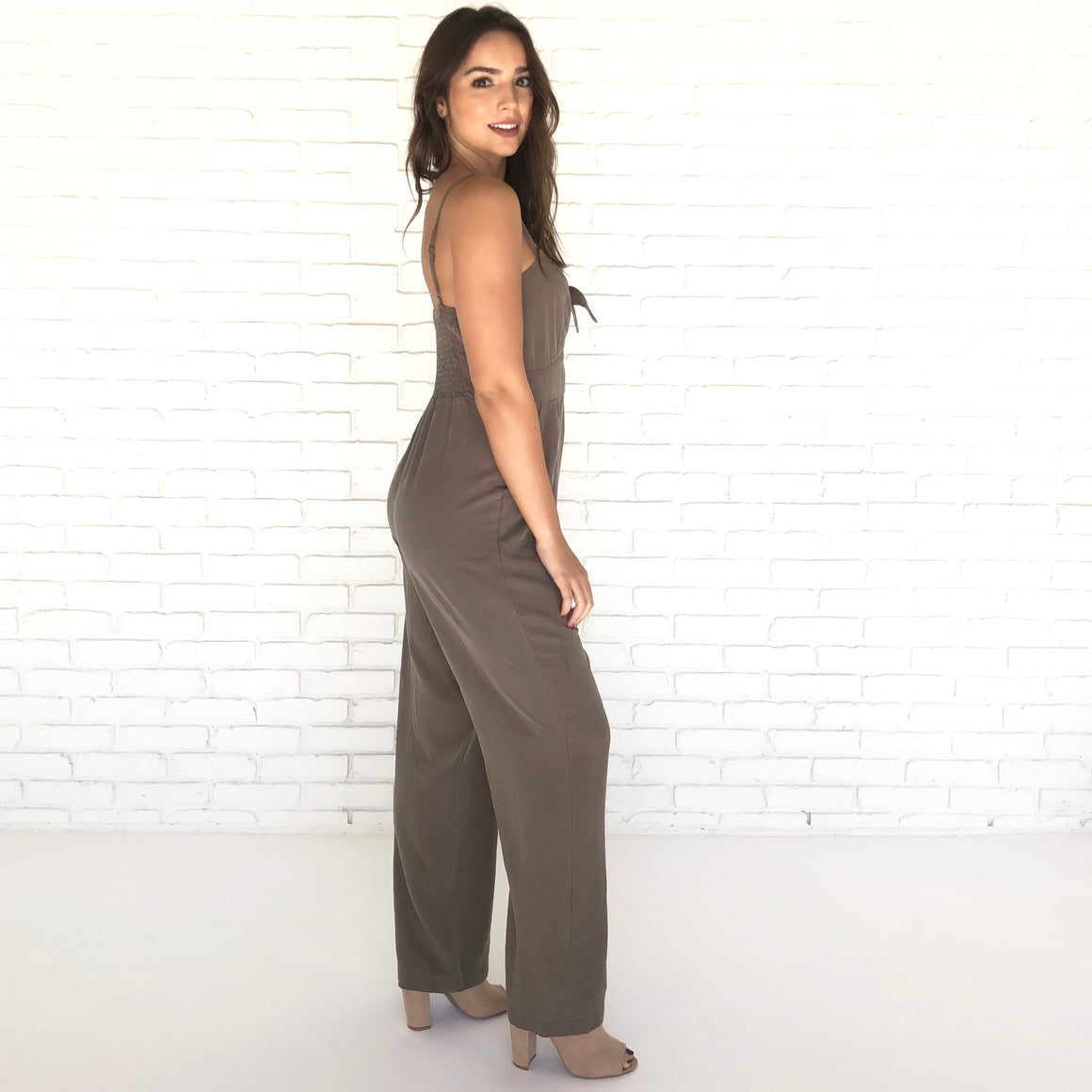 Bow Disclosure Olive Jumpsuit