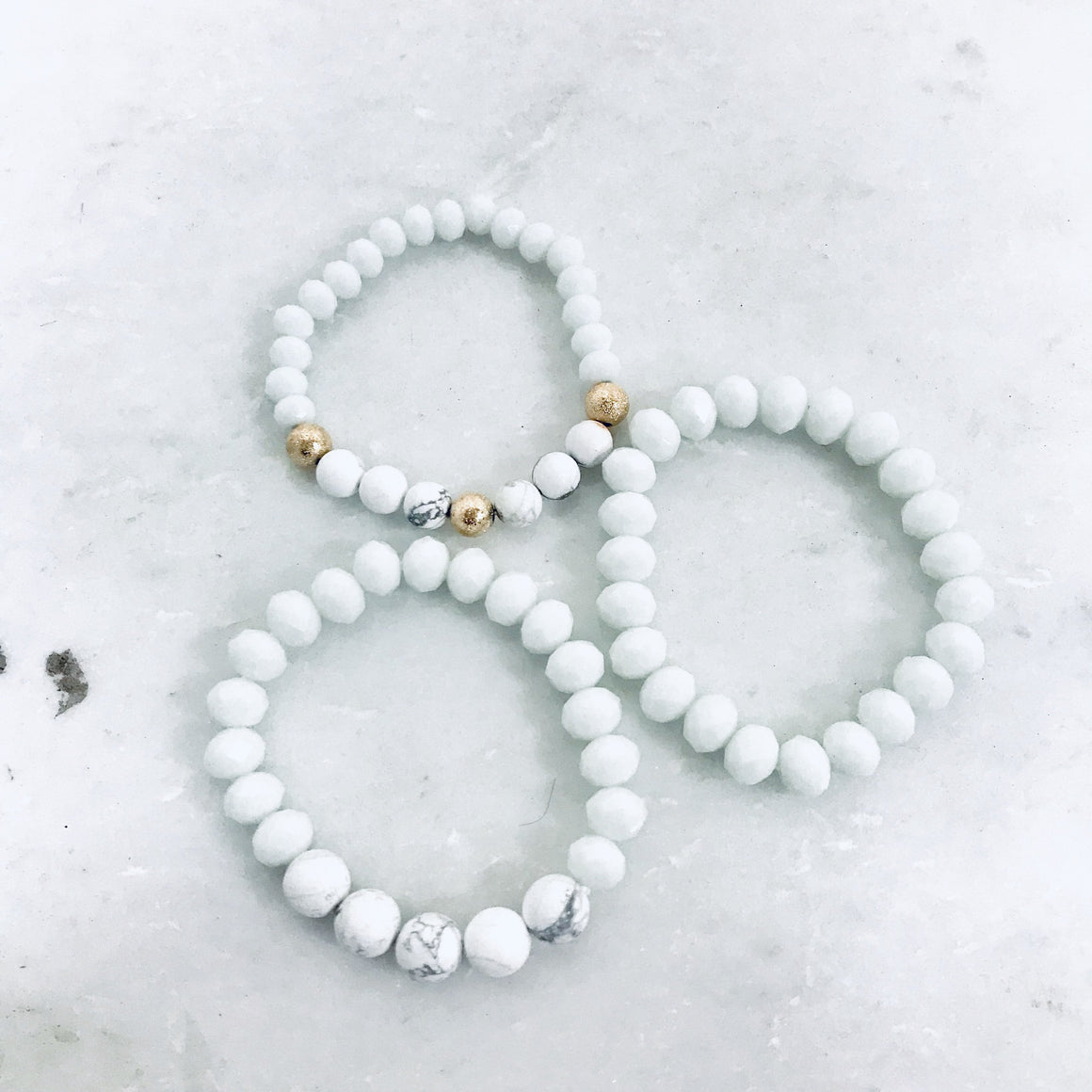 Marble & Gold Bracelet Set - Dainty Hooligan