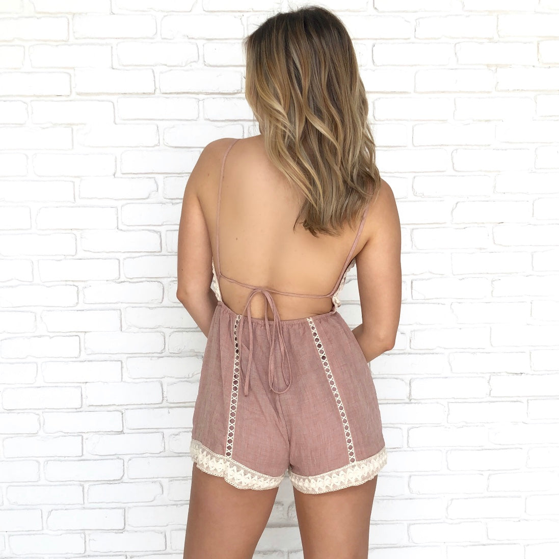 Weekend Fun Crochet Mauve Romper