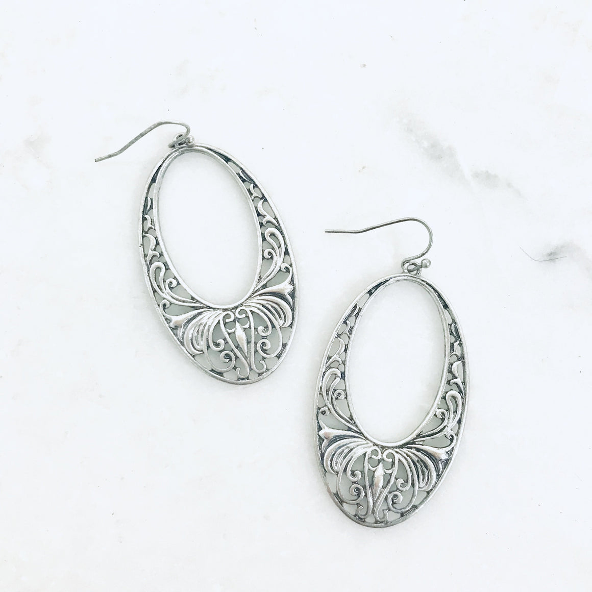 Aiden Oval Hoop Silver Earrings