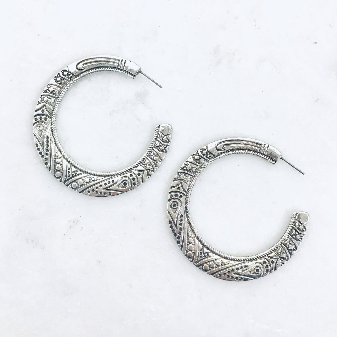 Candice Cut Silver Earrings