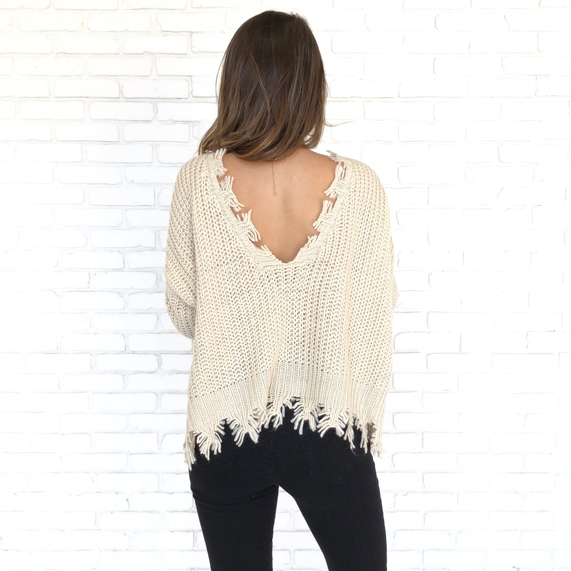 Ivory Raw Hem Scoop Back Reversible Knit Sweater