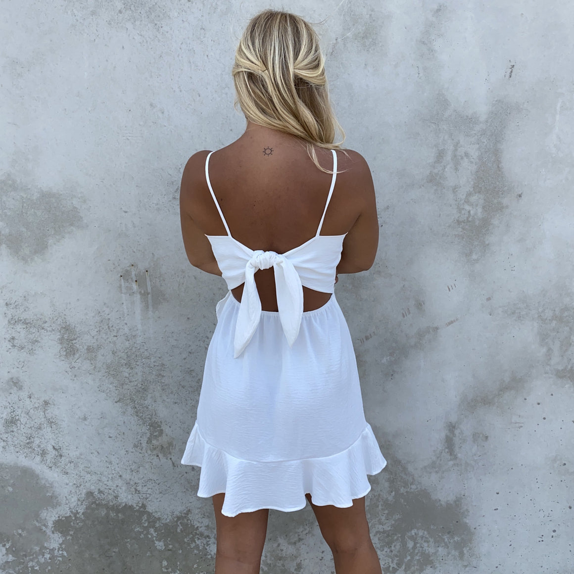 Kiss The Wind Ruffle White Dress - Dainty Hooligan