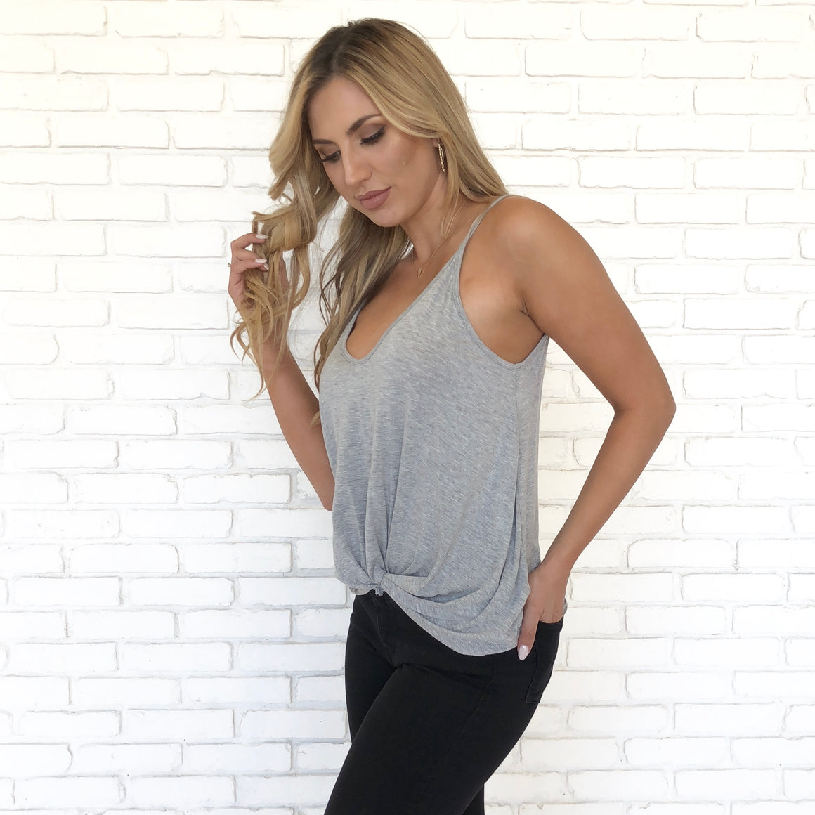 With A Twist Jersey Tank Top In Heather Grey