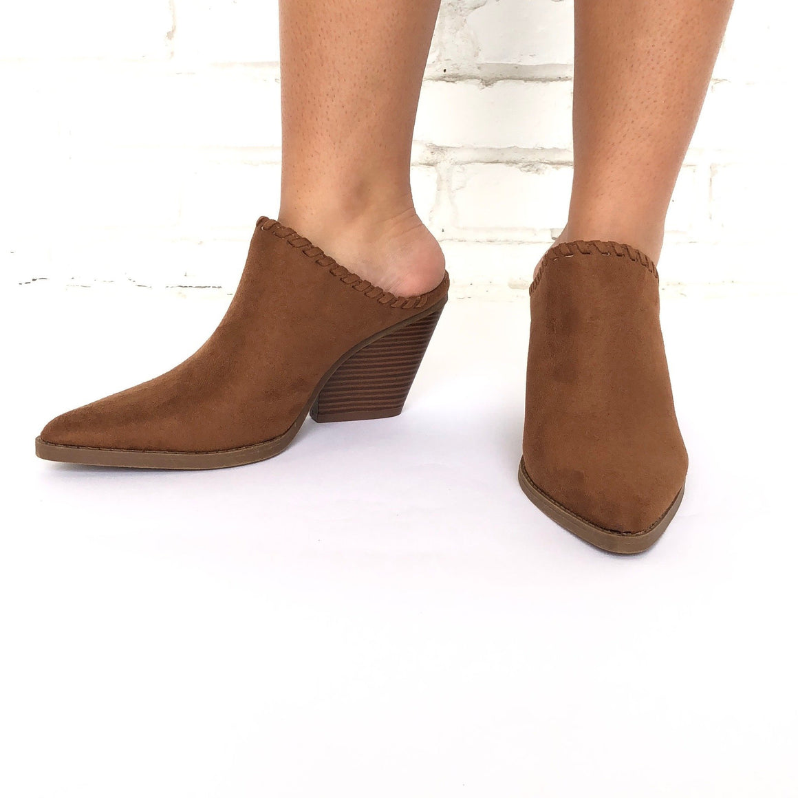 Get To The Point Slip On Heels In Camel - Dainty Hooligan