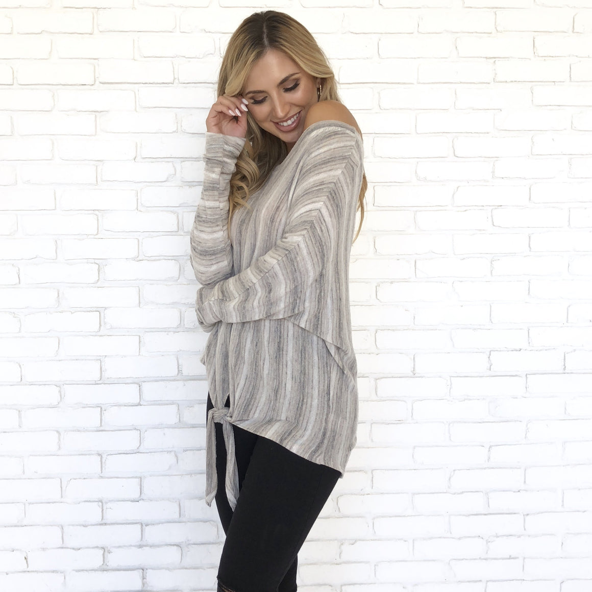 Earth Tone Stripe Fleece Top - Dainty Hooligan