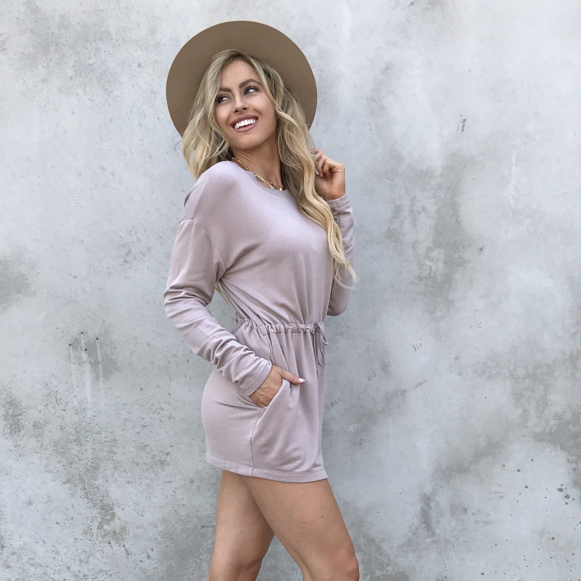 Nothing Better Blush Fleece Sweater Dress - Dainty Hooligan
