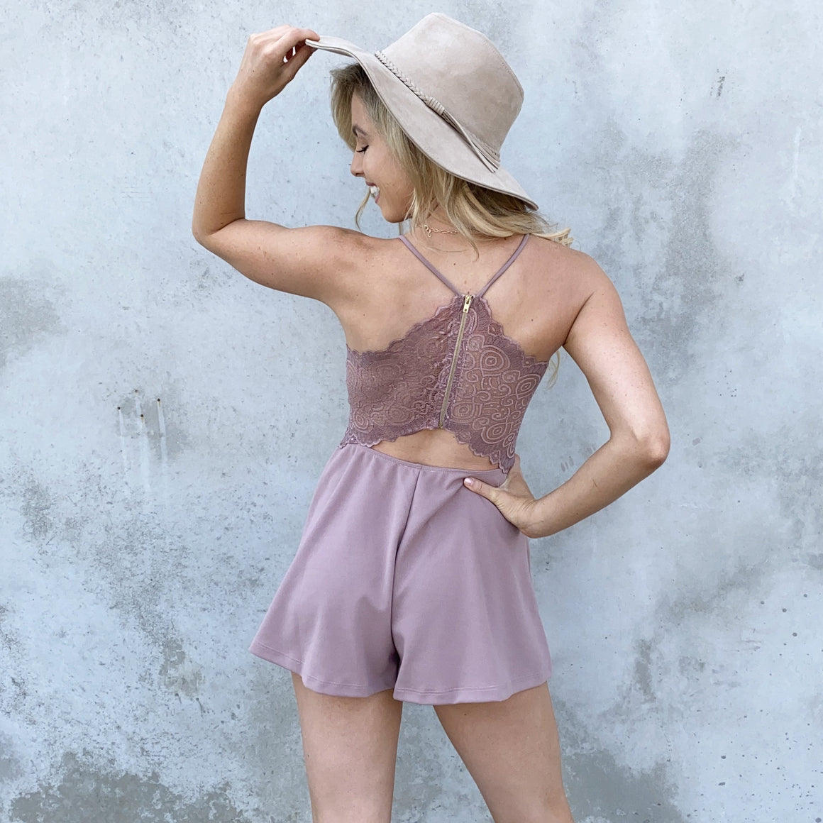 Gift Giving Lace Romper in Mauve - Dainty Hooligan
