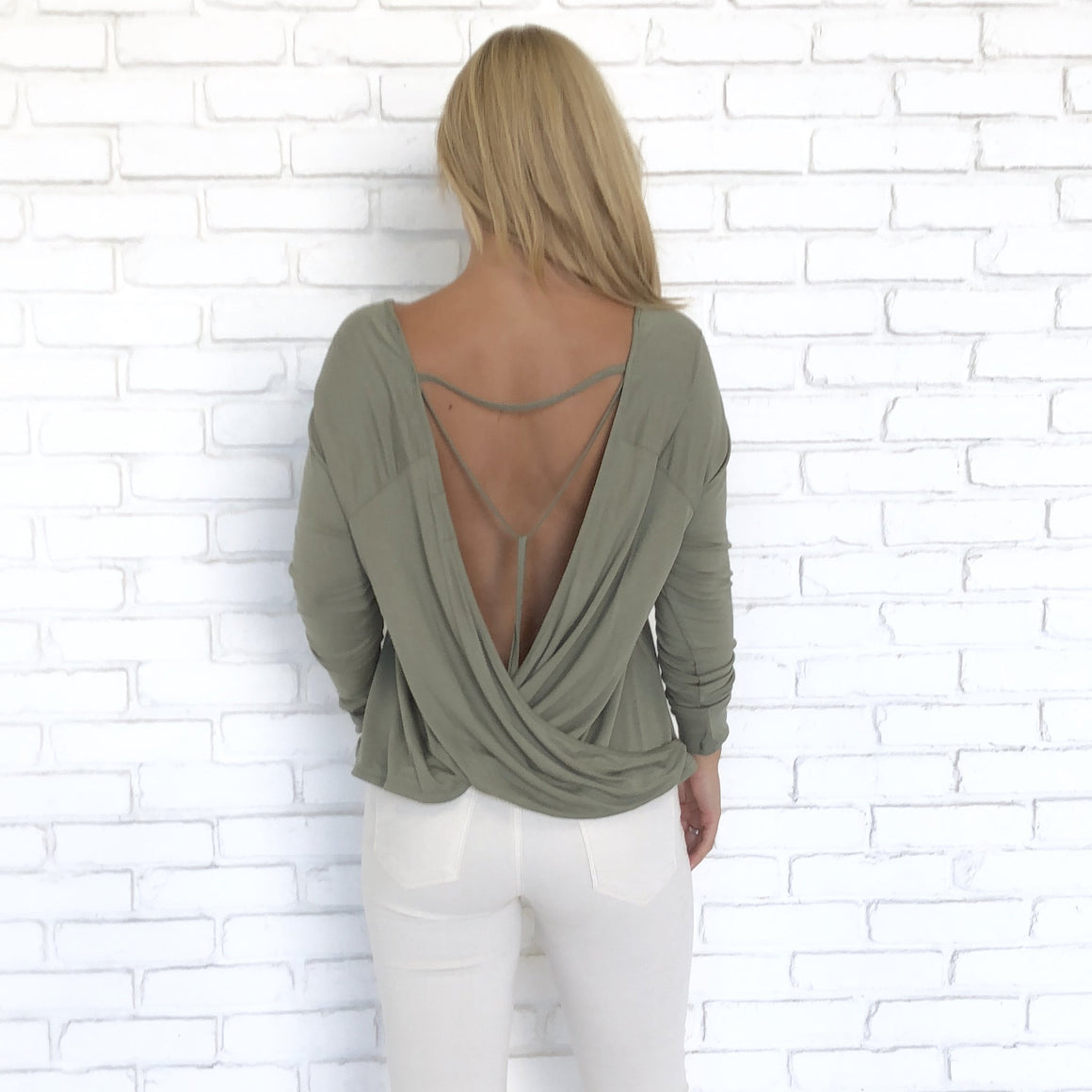 Taken Back Jersey Blouse In Olive - Dainty Hooligan