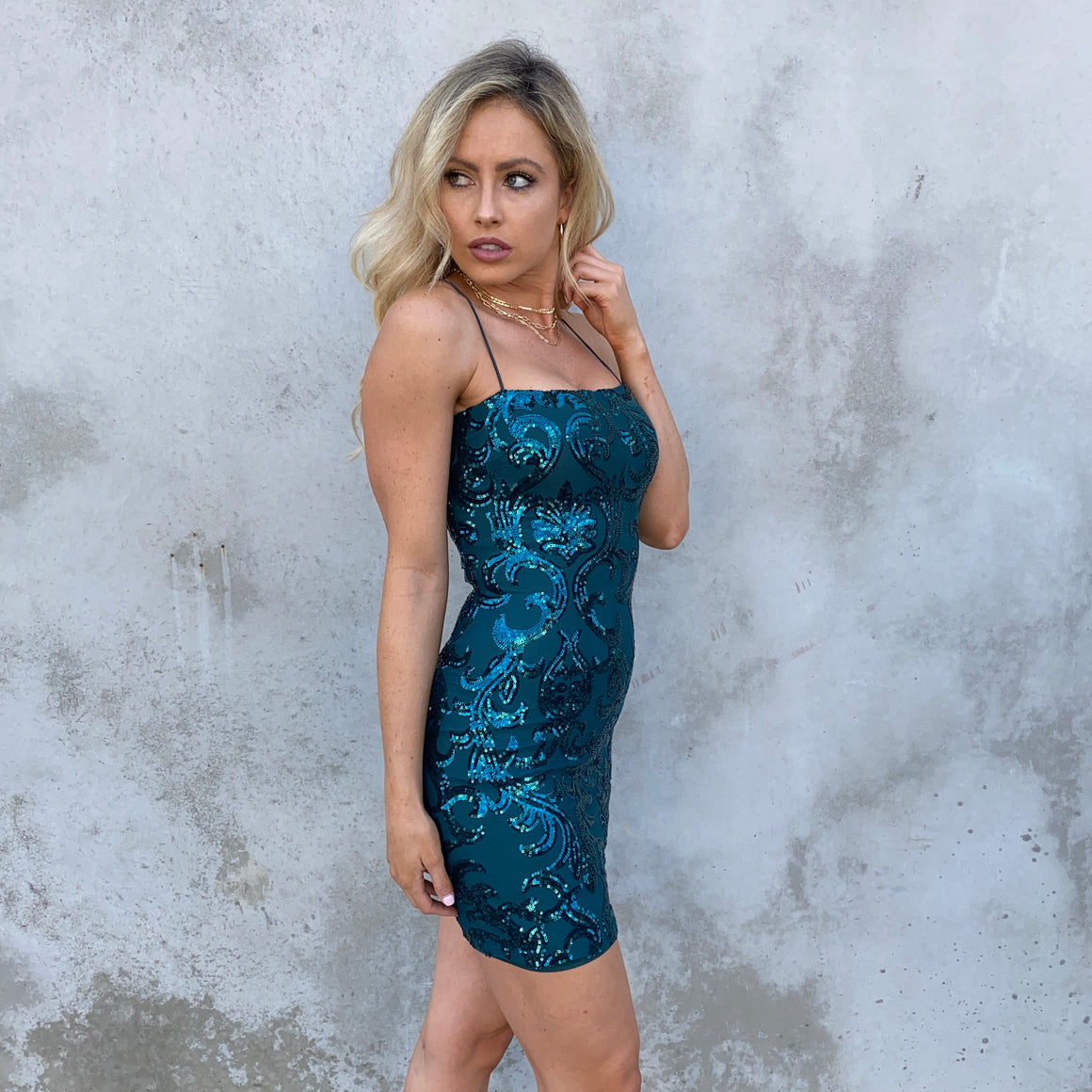Palisades Emerald Green Sequin Bodycon Dress - Dainty Hooligan