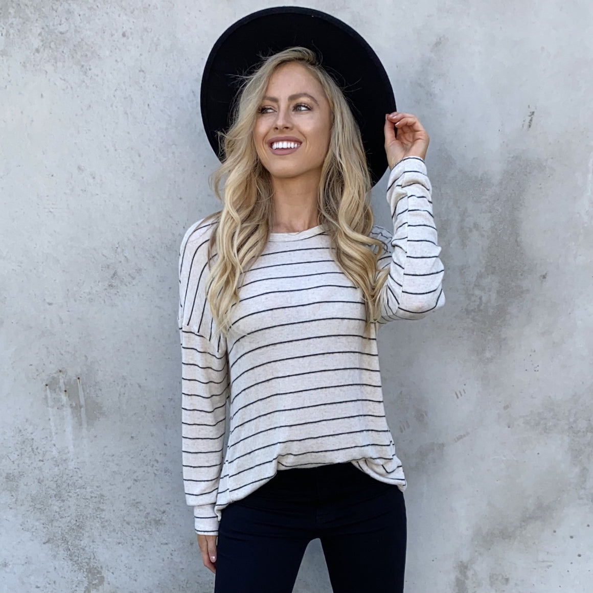 Elsa Fleece Stripe Back Sweater Top In Cream - Dainty Hooligan