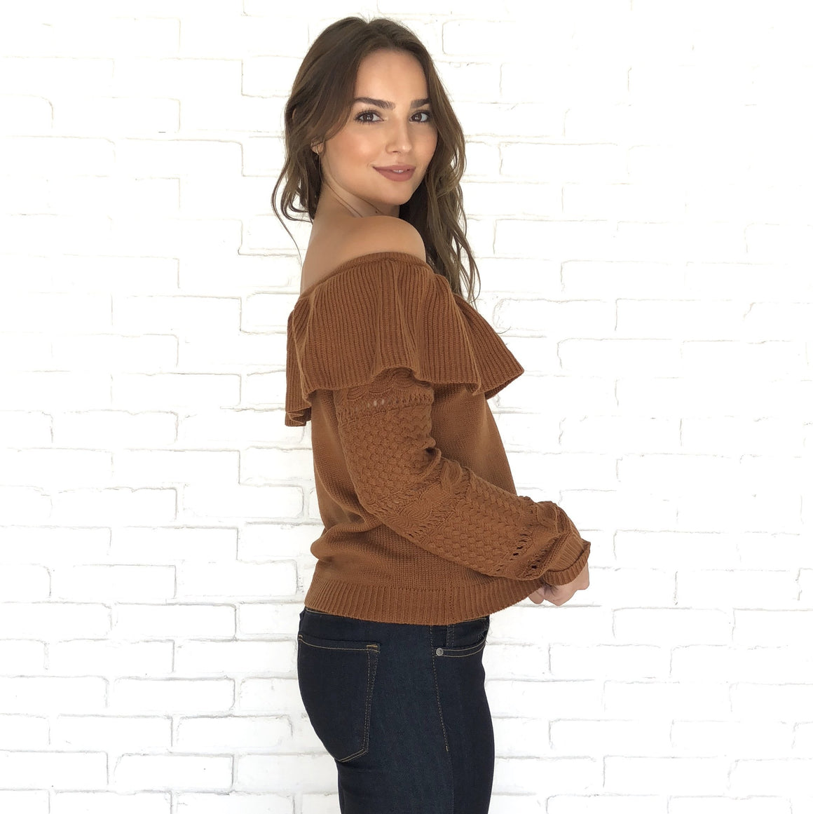 Hand Me Down Off Shoulder Sweater in Caramel - Dainty Hooligan