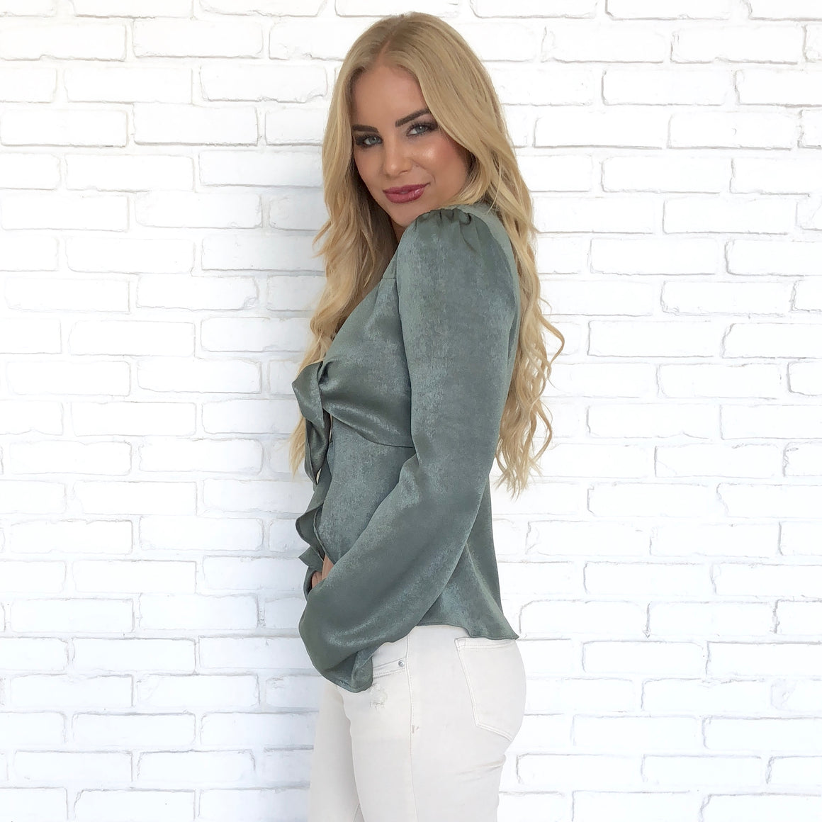 Chic Satin Knot Blouse in Olive