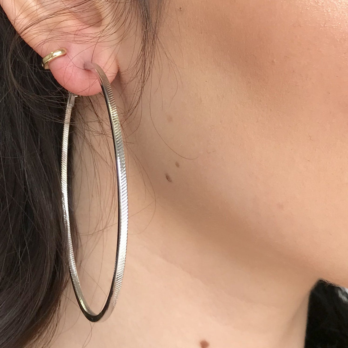 Jagged Edge Silver Hoop Earrings
