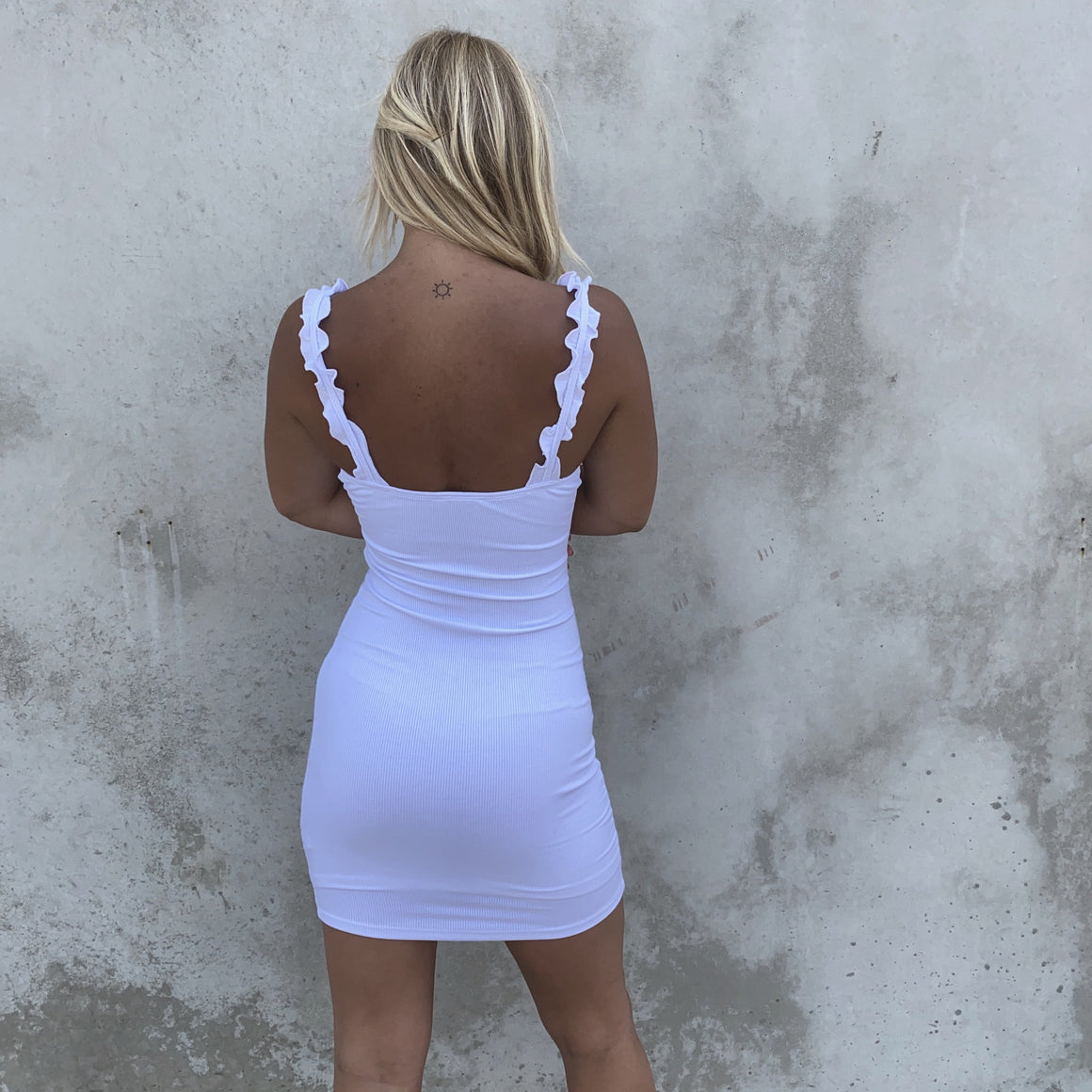 Always Joyful Ribbed & Ruffle Bodycon Dress in White - Dainty Hooligan