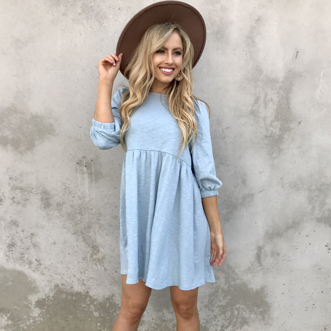 Bitter Sweet Babydoll Dress in Baby Blue - Dainty Hooligan