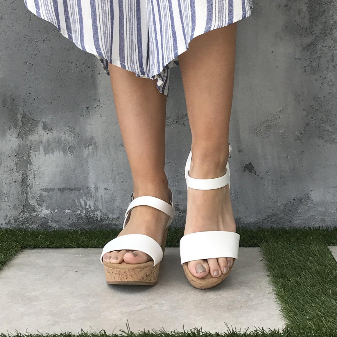 Arial Open Toe Cork Wedges in White - Dainty Hooligan