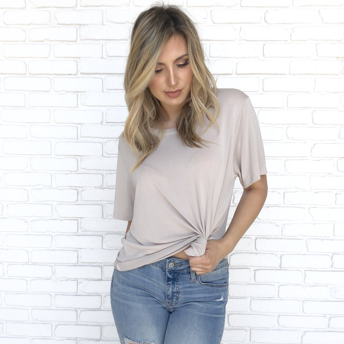Getting By Basic Soft Cotton Tee In Stone - Dainty Hooligan