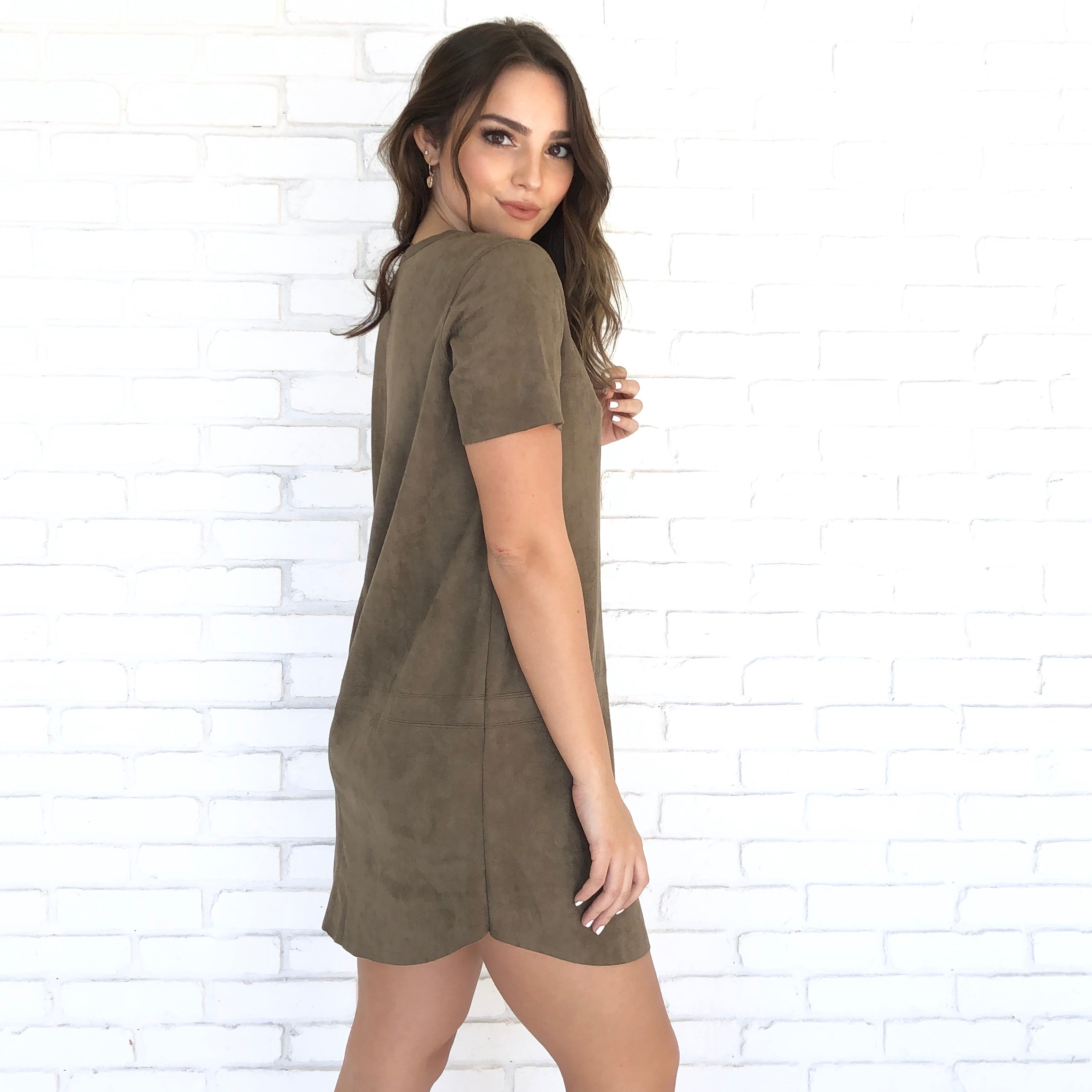 c51e8bdf884 City Streets Suede Shift Dress in Olive - Dainty Hooligan Boutique