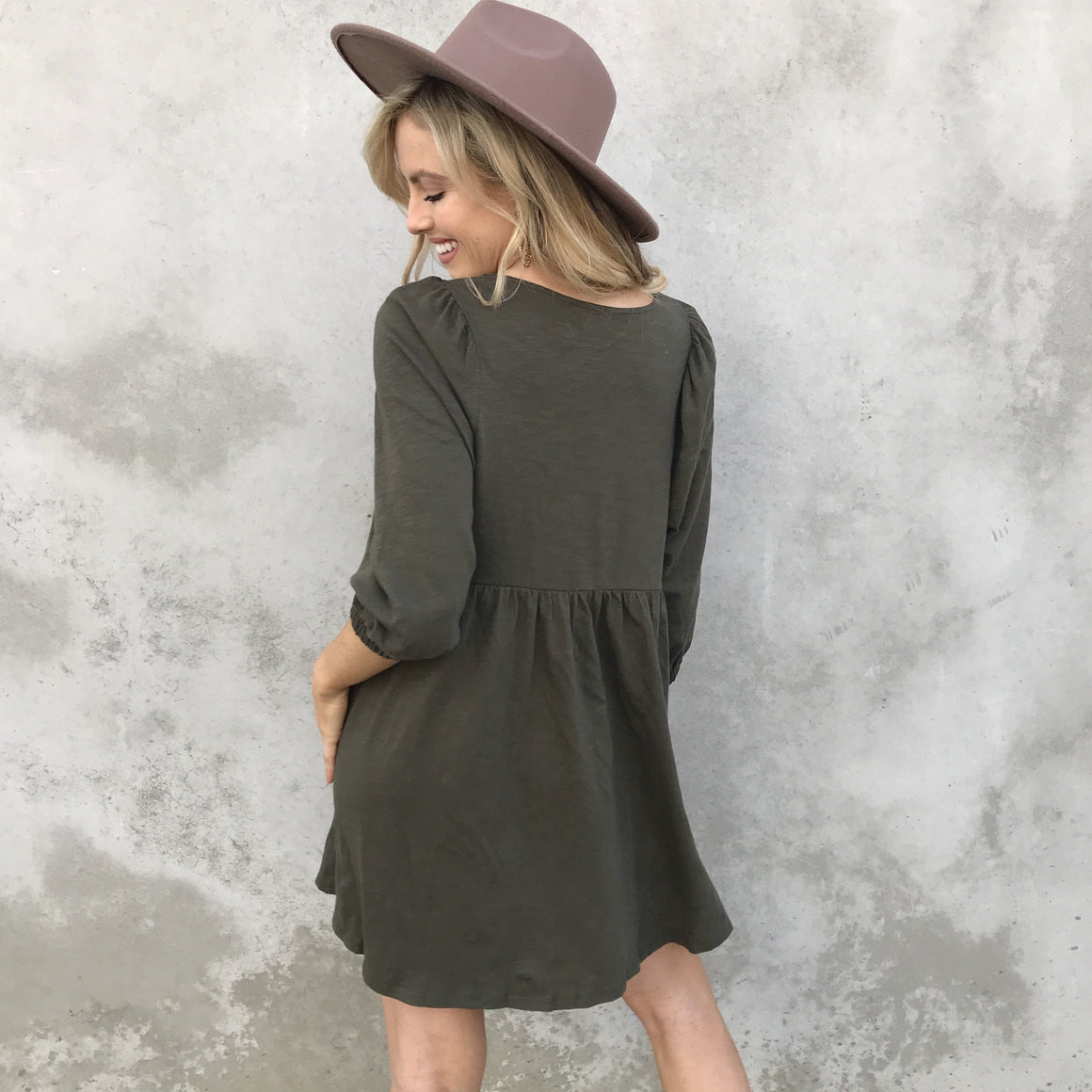 Bitter Sweet Babydoll Dress in Olive - Dainty Hooligan
