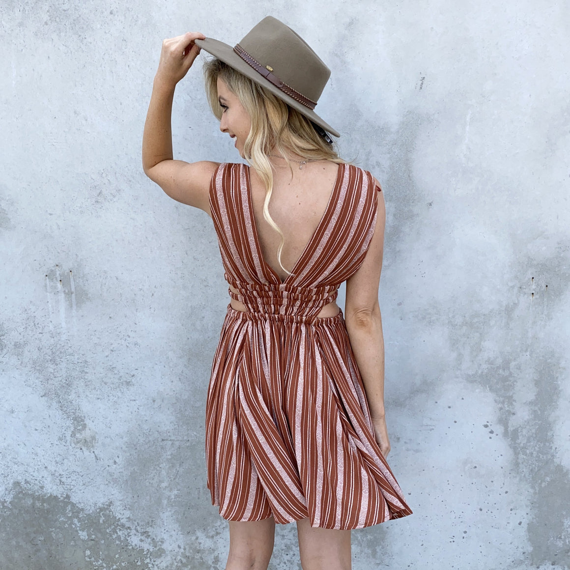 Harper Stripe Skater Dress in Rust - Dainty Hooligan