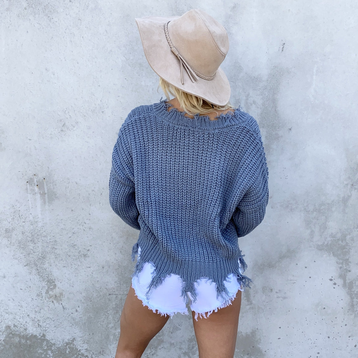 Jagged Edge Knit Sweater In Teal Blue - Dainty Hooligan