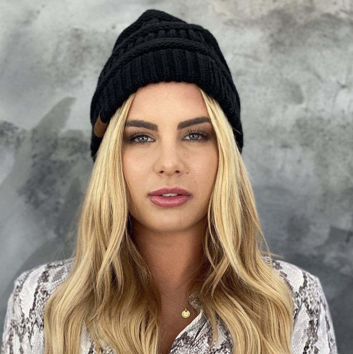 Black Knit Beanie Hat