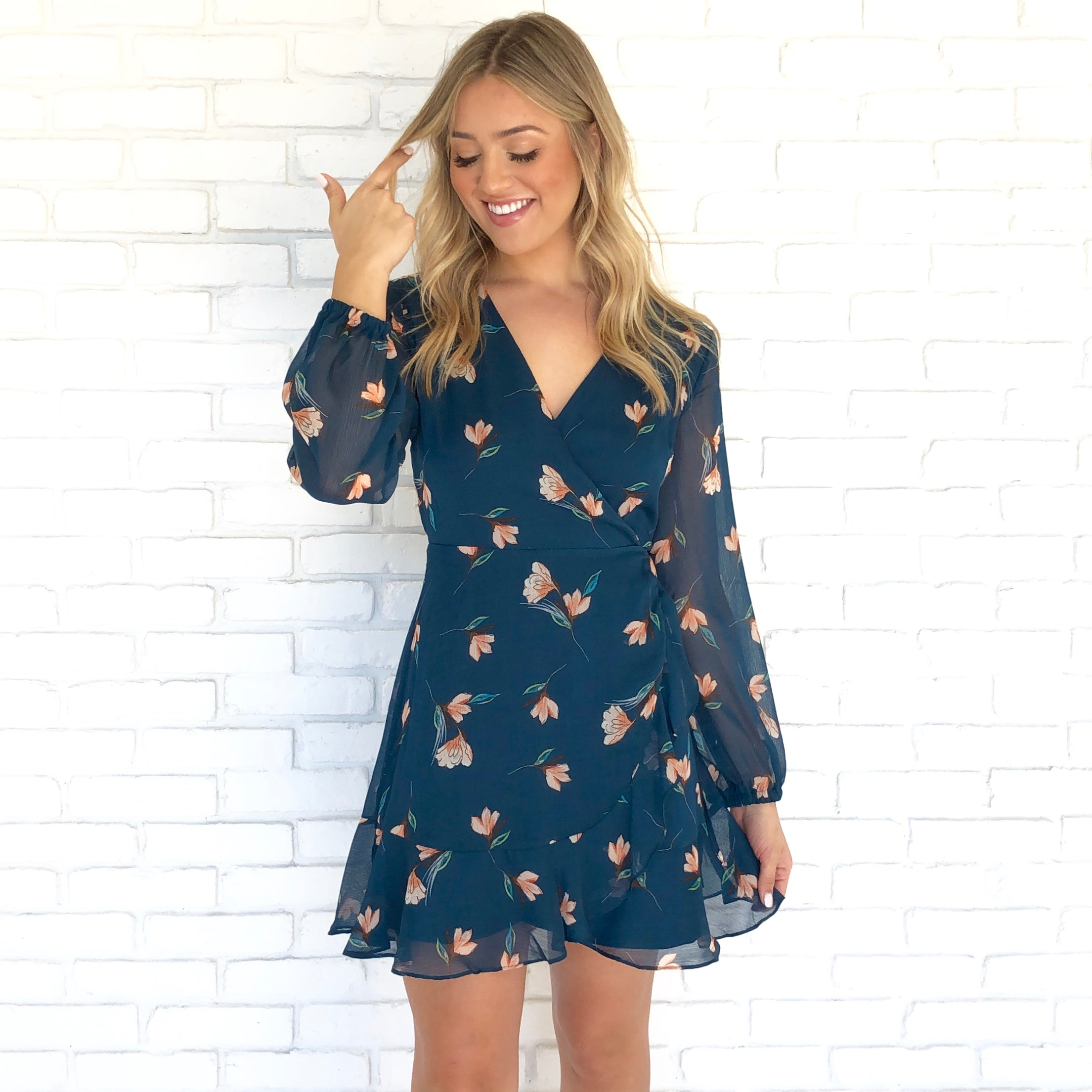 07fdc948358 Darling Teal Floral Dress - Dainty Hooligan Boutique