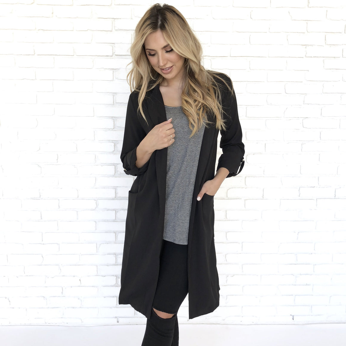 In Love Trench Black Blazer
