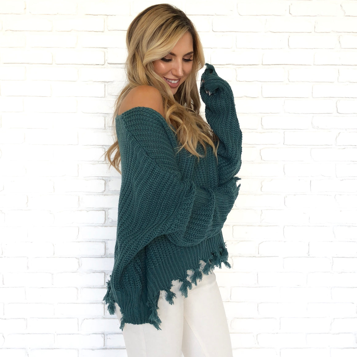 All Tied Up Knit Sweater In Teal