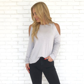 d221b4c32bae8 Buttercup Cold Shoulder Sweater Top in Grey ...