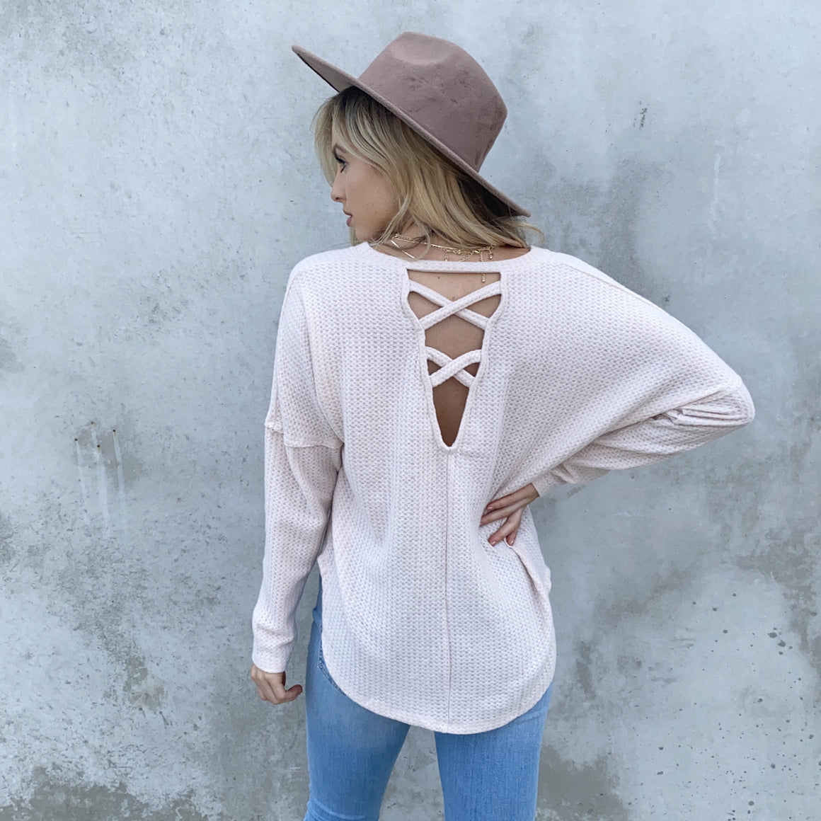 Better Together Cream Knit Open Back Sweater Top - Dainty Hooligan