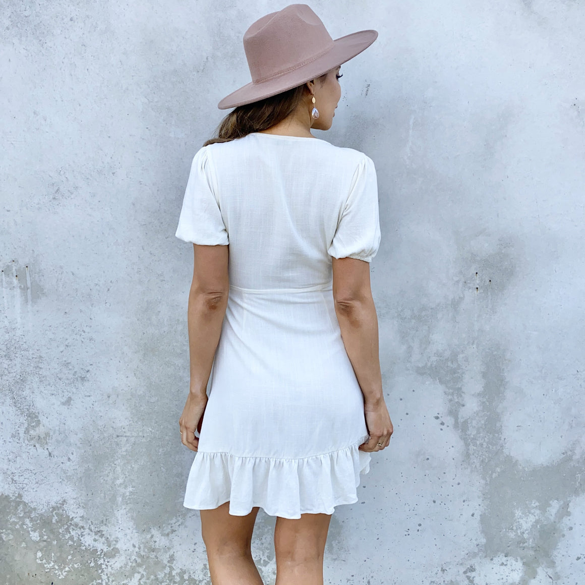 Let It Play Out Cream Linen Wrap Dress