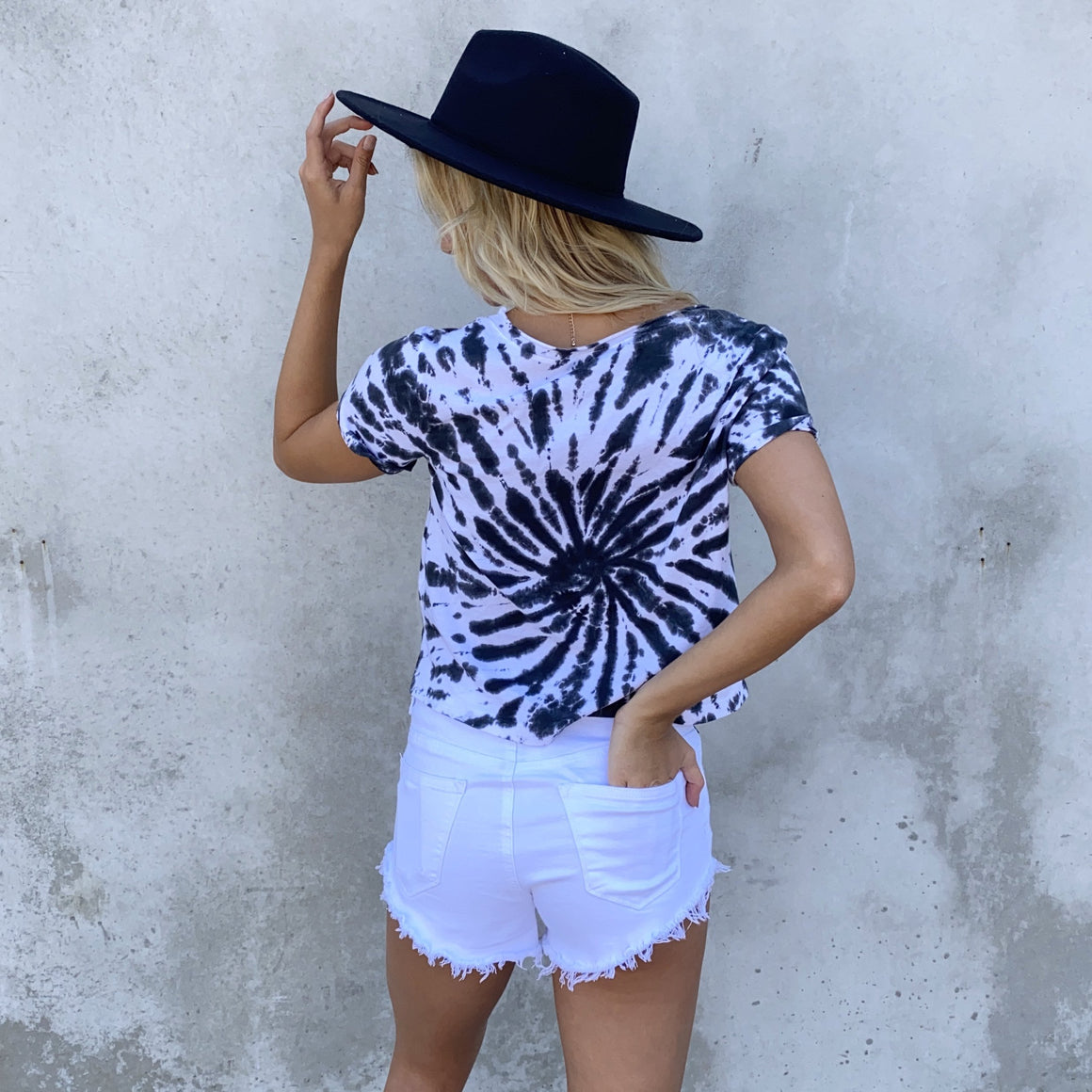 Tie Dye For Black & White Cotton Top - Dainty Hooligan