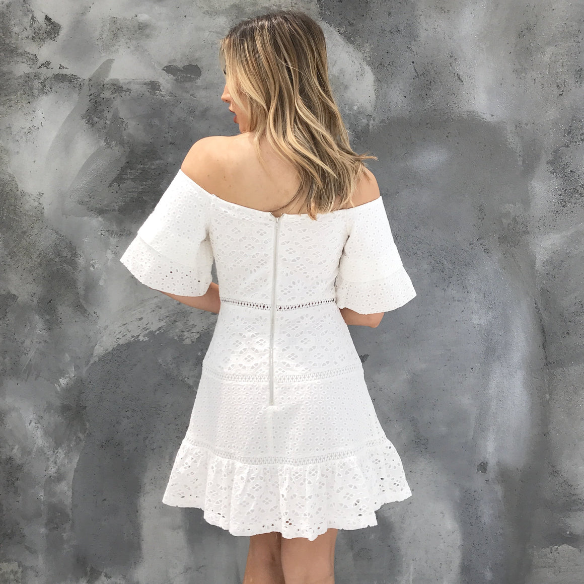 Eyelet Off Shoulder Dress in White