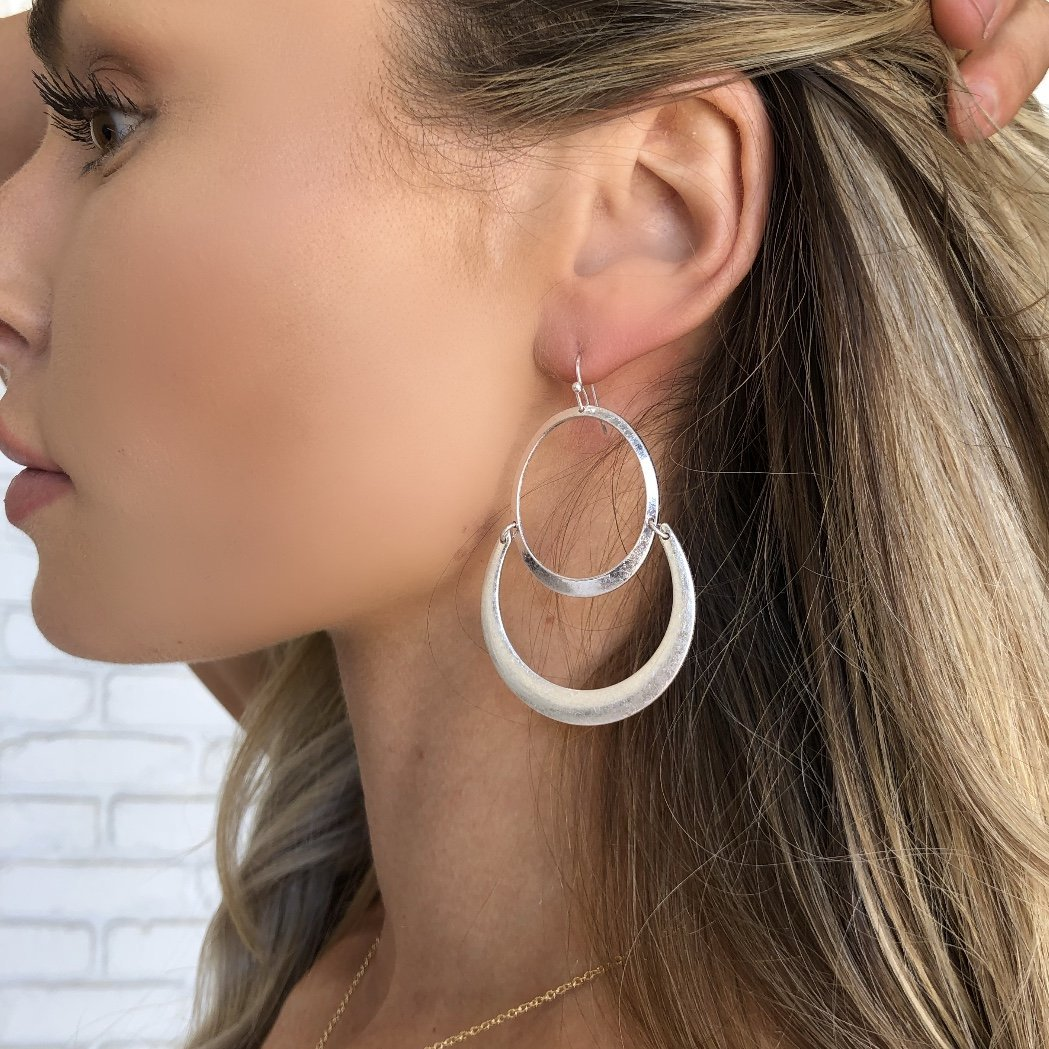 Charmingly Styled Silver Hoop Earrings