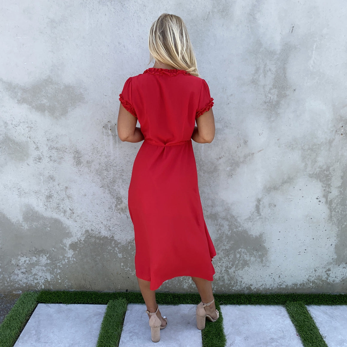 Sweet Fling Ruffle Wrap Dress in Red - Dainty Hooligan