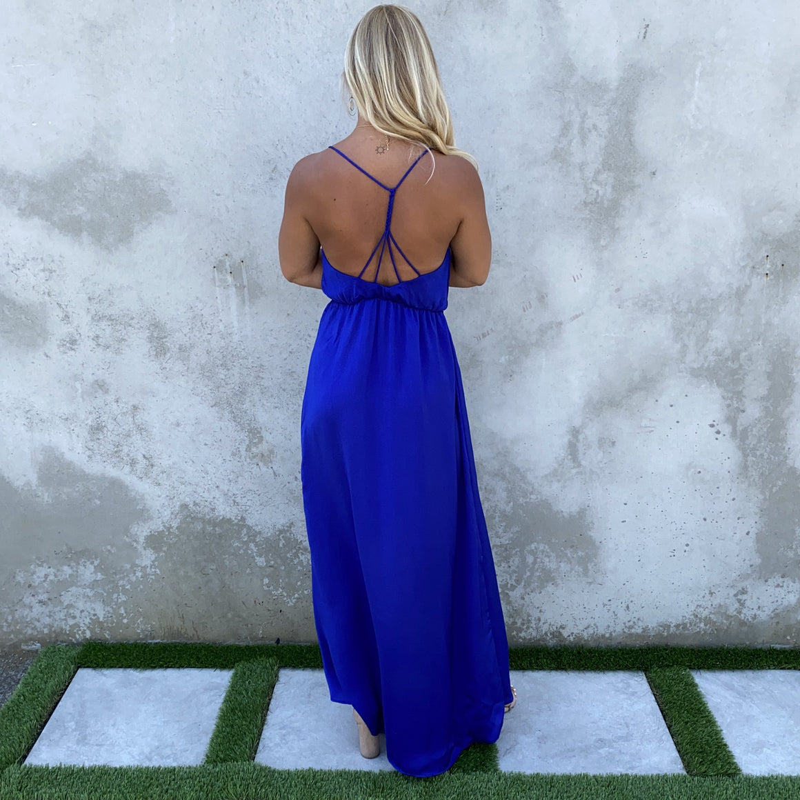 Sunday Brunch Royal Blue Satin Maxi Dress