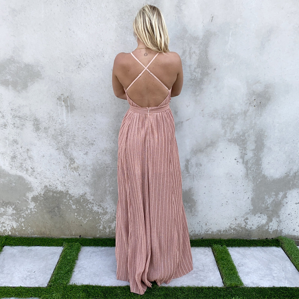 Hidden Gems Rose Gold Party Maxi Dress