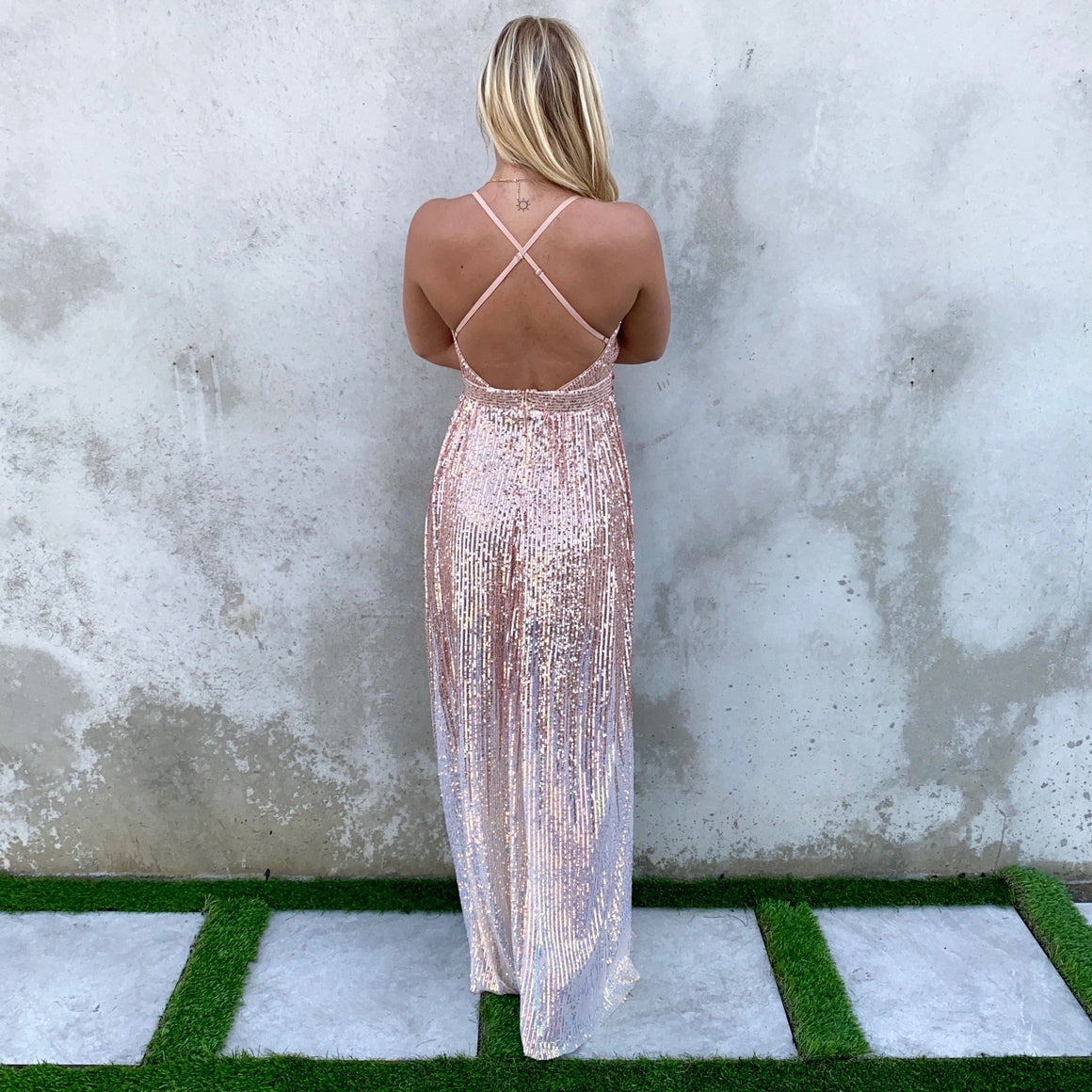 Light Up The Night Rose Gold Ombre Sequin Maxi Dress - Dainty Hooligan