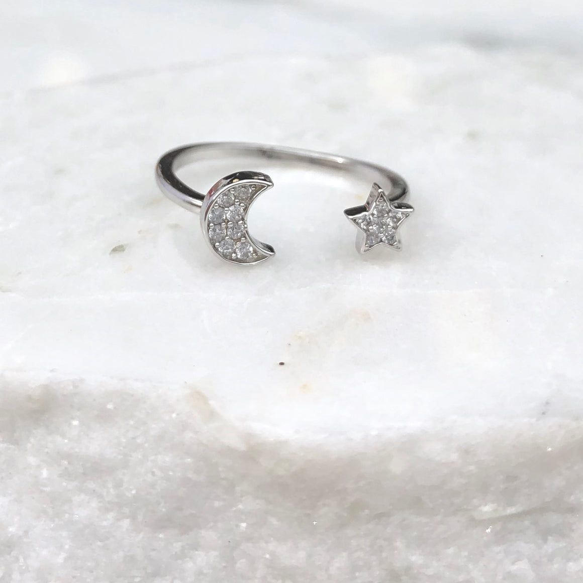 Moon & The Star Silver Diamond Ring