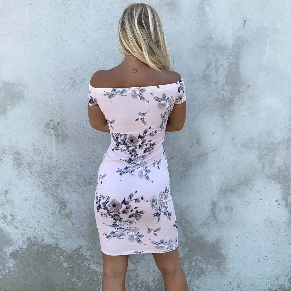 Floral Lust Blush Off Shoulder Dress