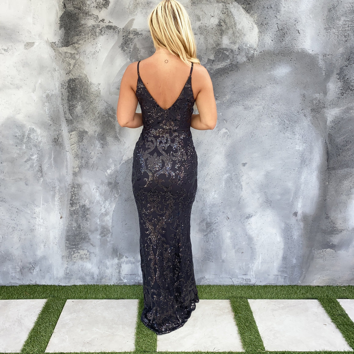Striking Midnight Black Sequin Maxi Dress
