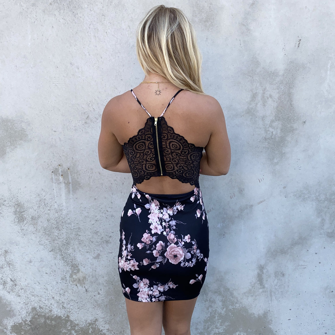 Floral Fantasy Black Bodycon Dress