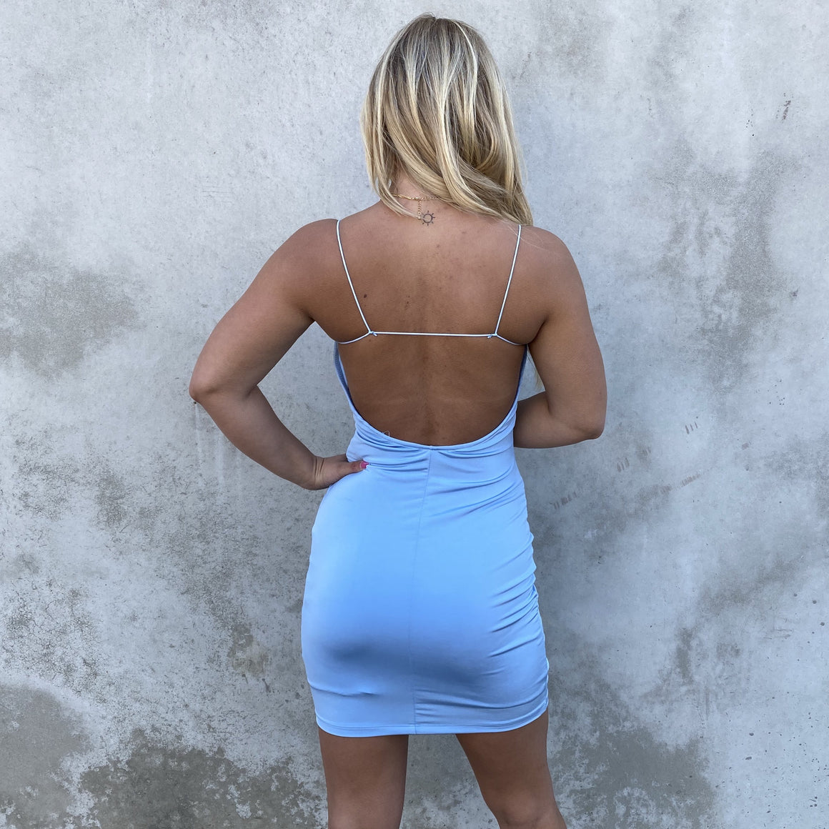 String Me Along Party Dress in Baby Blue