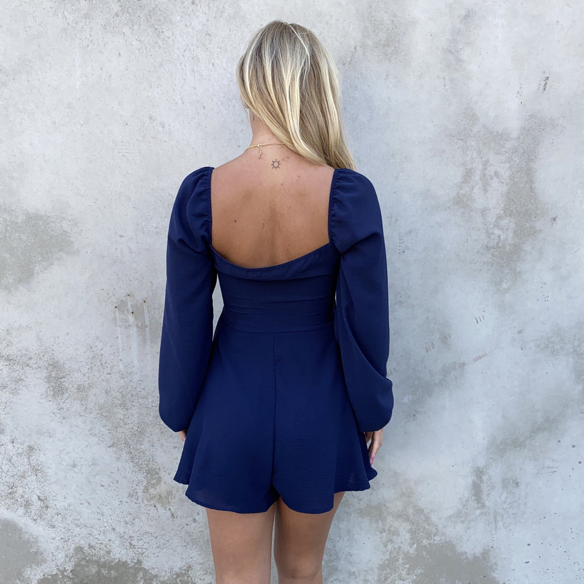 Knot This Time Navy Romper