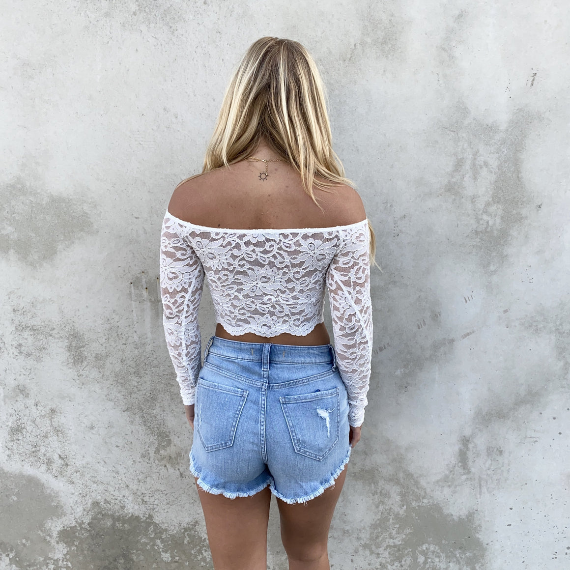 At My Own Lace White Floral Crop Top