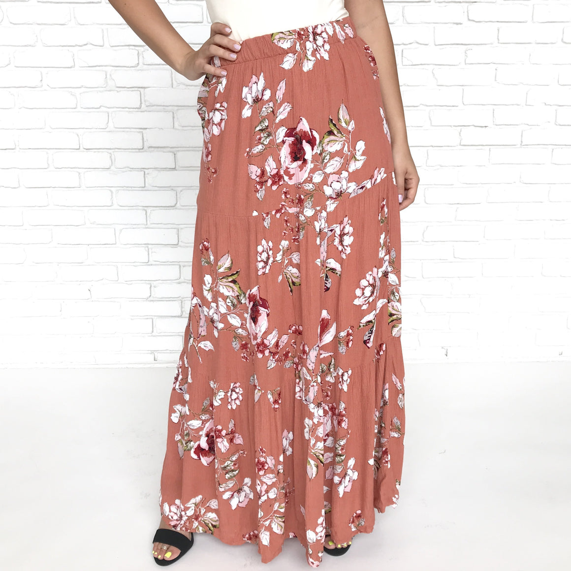 Falling For Floral Maxi Skirt in Rust - Dainty Hooligan