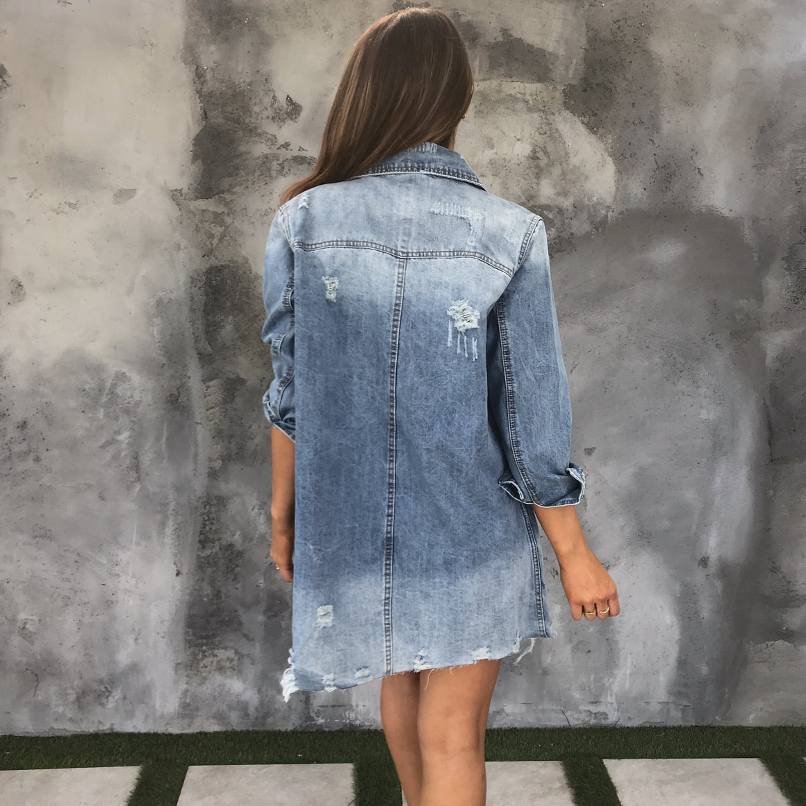 Hopeful Distressed Blue Denim Jacket