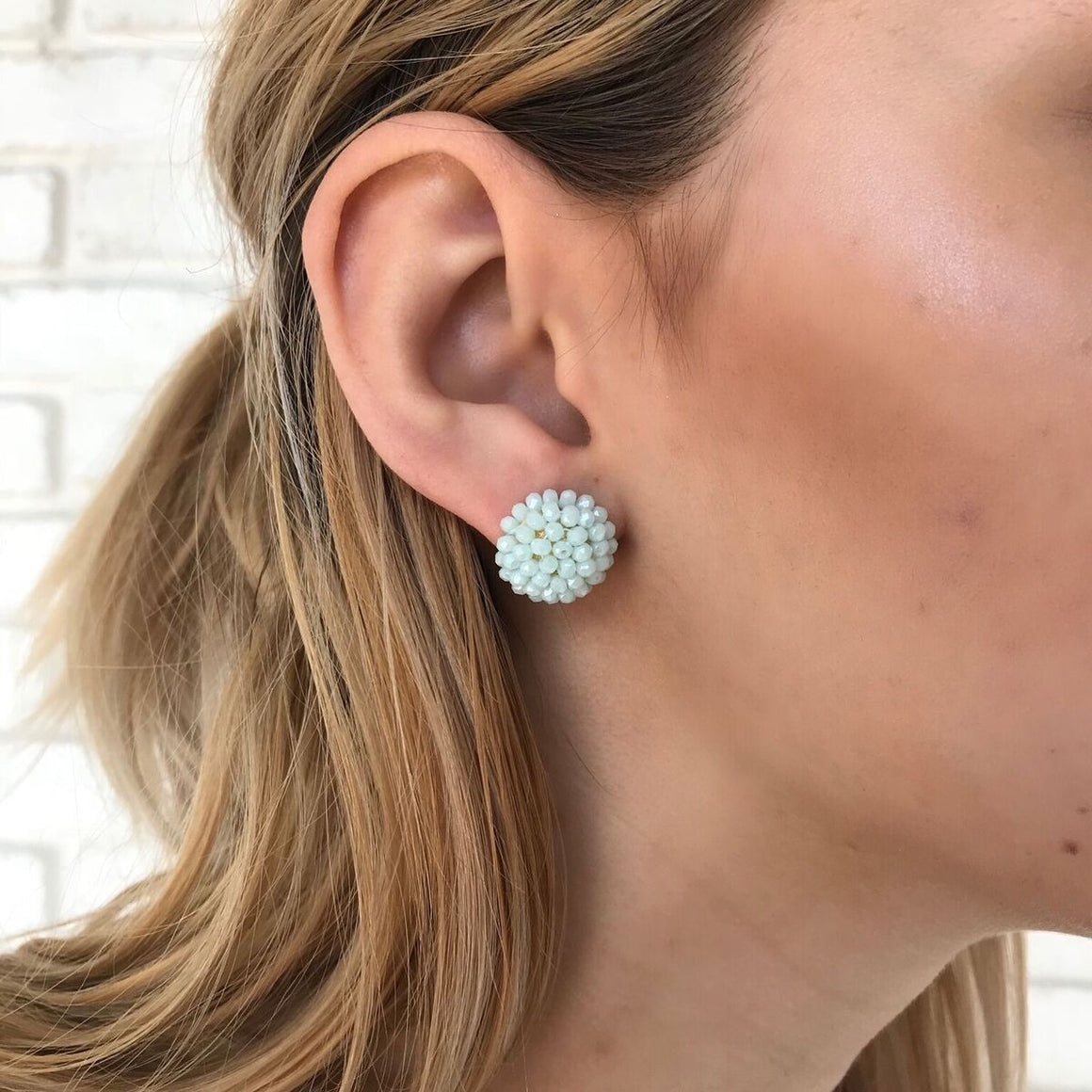 In Full Bloom Beaded Stud Earrings in Mint - Dainty Hooligan